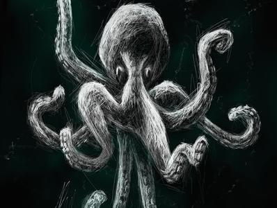 Octopus | Black Ocean Collection sketch octopus ocean illustration black