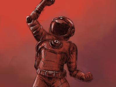 No Mans Sky Spaceman | Gamer Fan Art fan art spaceman sci fi art gamer art no mans sky nms digital painting sketch mixed media illustration