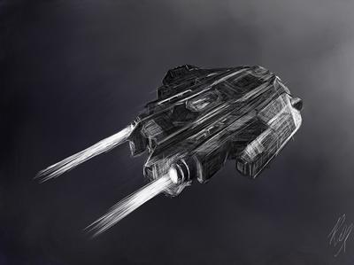 Elite Dangerous Type 9 | Gamer Fan Art gamer art scifi art fan artwork spaceship type 9 elite dangerous digital painting sketch mixed media illustration