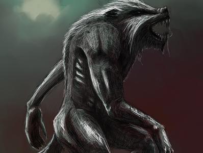Werewolf | Patron Commission monster fantasyart werewolf mixed media digital painting sketch illustration