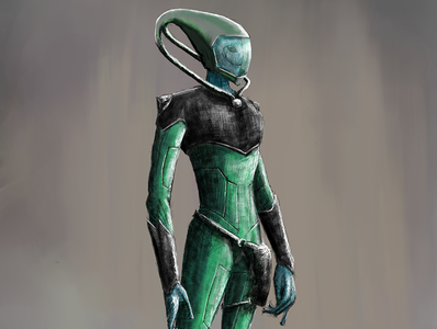 Alien Game Character | Commissioned Concept Art concept art alien sci fi art gamer art mixed media digital painting sketch illustration