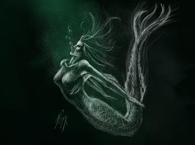 MerMay2020 | Challenge underwater mermay2020 mermay mermaid fantasy art ocean black sketch illustration