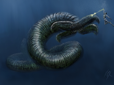 KaiJune2020 | Challenge kaijune2020 kaijune kaijumonster kaiju lightbringer fanart brent weeks sea demon fantasy art mixed media digital painting ocean sketch illustration