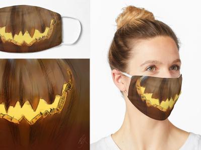 Pandemic (Covid-19) Jack-o-Lantern / Halloween Mask halloween2020 halloween samhain pumpkin jackolantern creativemask printedmask pandemicmask facemask mask covid19 covidmask