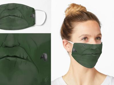 Pandemic (Covid-19) Frankenstein's monster Mask bookart fanart scifiart monster frankenstein creativemask printedmask pandemicmask facemask mask covid19 covidmask