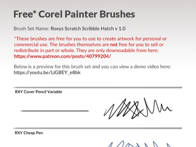 Free Corel Painter Brushes for Drawing hatching