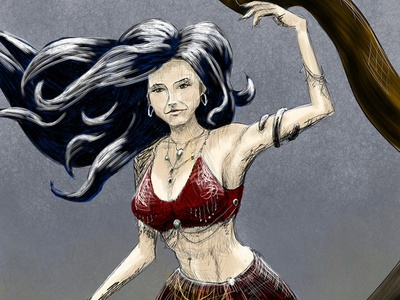 Belly Dancer corelpainter mixedmedia sketch gypsy katebush bellydancer