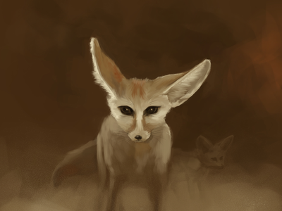 Fennec Fox in a Sandstorm | Out of the Haze series art painting fennecfox fox fennec
