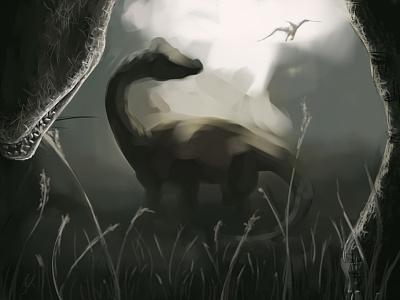 Brontos Grazing dinosaurs gamerart fanart arksurvivalevolved dinovember dinovember2020 depthoffield pteranodon brontosaurus bronto dinosaur dino