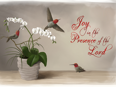 Joy in the Presence of the Lord hummingbird orchid christian art digital painting