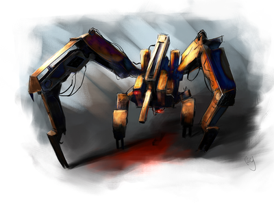 Generation Zero Harvester Robot mixed media digital painting sketch illustration genzero scifiart gamerart digitalart robot marchoftherobots marchofrobots2021 marchofrobots generationzero