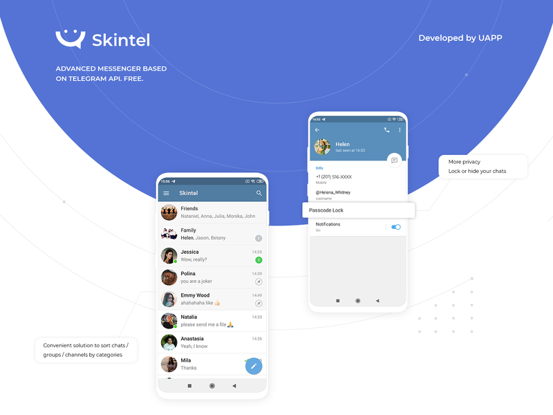 Skintel. Mobile app - Messanger. Based on Telegram android app telegram chat application messenger app messenger android contact chatting chat app chat mobile uiux interface interaction ui  ux web design mobile ui mobile app application app design app