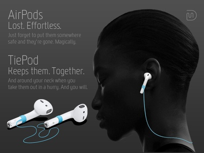 TiePod wireless earphones product design product idea tiepod apple airpods mohldesign