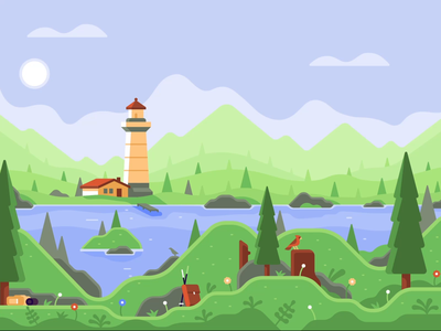Animated Illustration of Lakeside View mobile iphone hack day onboarding illustration animation after effects