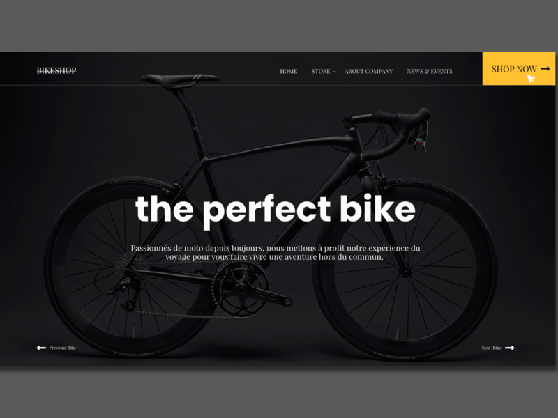 Modern Bike Shop Adobe XD Template vector illustration minimal ecommerce website web design ux ui
