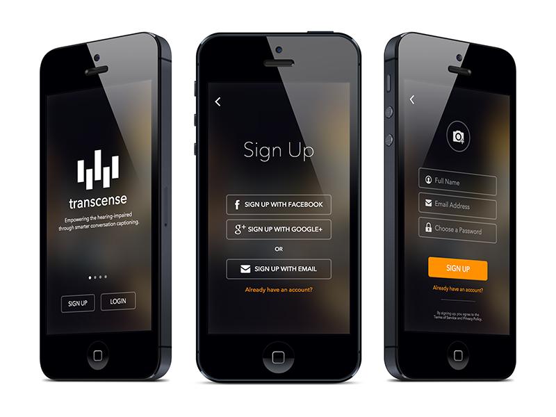 Transcense Login Flow sign up dark ios login mobile ui ux interface iphone onboarding
