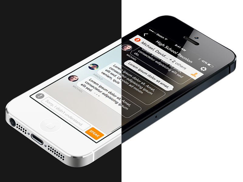 Trascense Conversation Screen dark mobile interface ios iphone chat ui ux