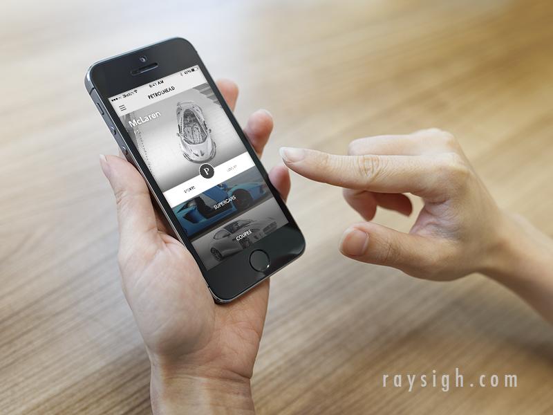 Petrolhead transition animation transitions navigation flat app mobile iphone ios interface list swipe