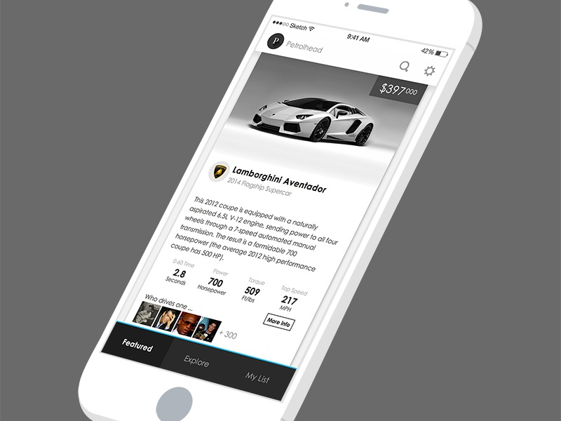 Petrolhead Redesign navigation scroll app iphone ios interface button mobile flat list