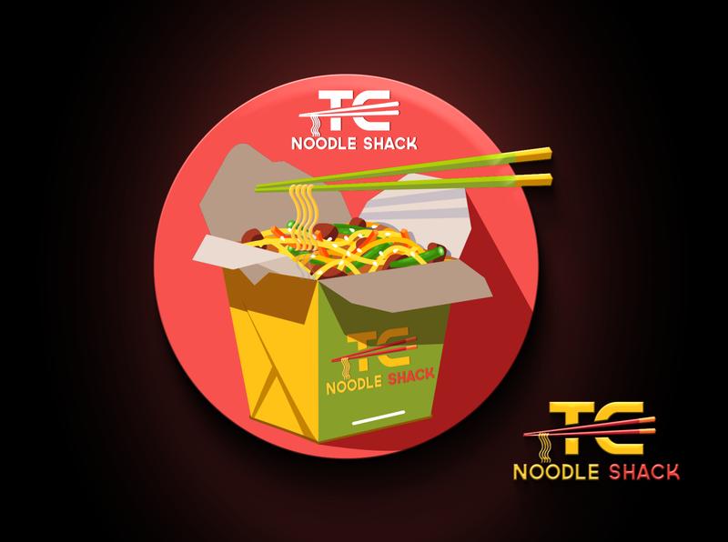 TC Noodle Shack branding logo yellow yummy creative design noodle stick shack
