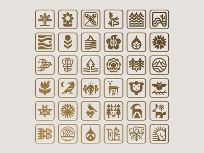 Nature symbols 1-36 nature logo icons symbols fauna flora plants nature