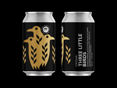 Three Little Birds (Barrel Ages 12 oz) field yeast wheat beer can gold raven bird crow beer branding beer label beer illustration nature symbol icon logo