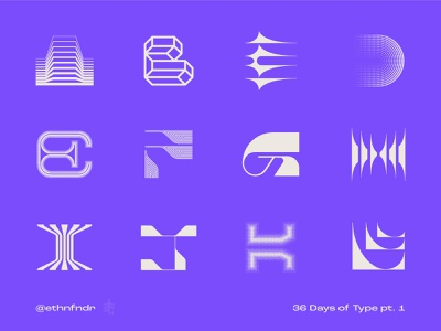 36 Days of Type (purple version) vector mark icon logo modern type design typography wordmark logotype alphabet lettering letterform
