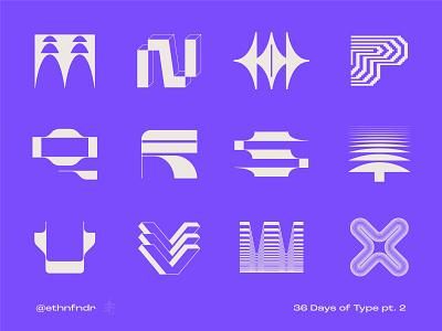 36 Days of Type (purple version) pt.2 monogram logotype typography type design alphabet technology grid modular future tech modern letterform lettering icon logo