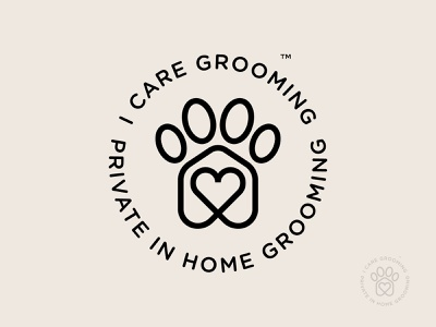 I Care Grooming (circle badge version) animals love heart circle badge circle identity logo mark symbol icon grooming dog grooming paw dog paw dogs dog pet care pet