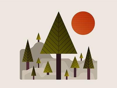 Forest setting illustration design hills rocky pine trees pine trees sun minnesota forest illustration