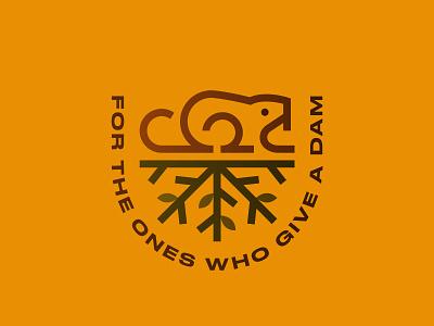 Dam pun leaves illustration nature symbol icon logo tree branch type typography badge dam beavers