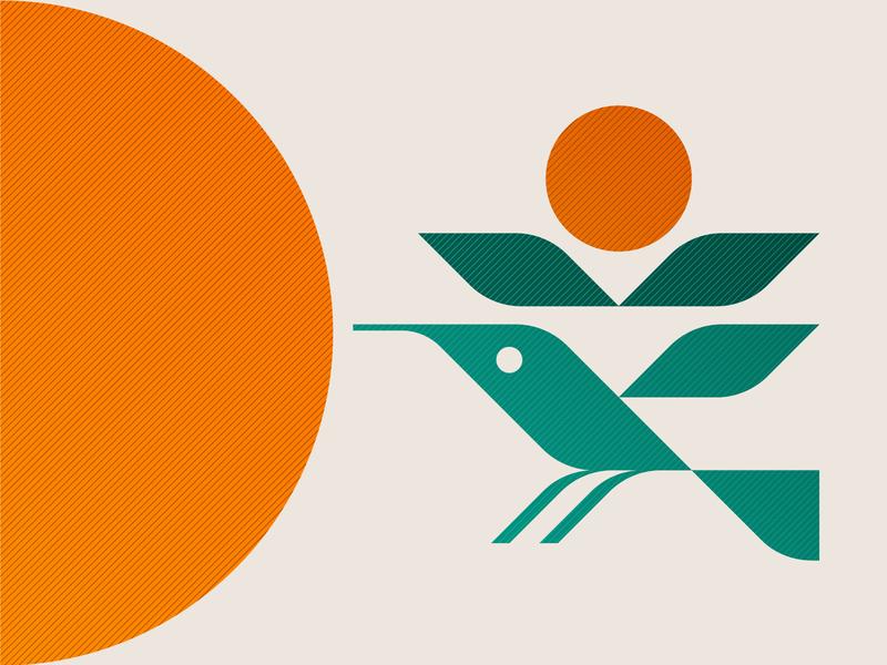 Hummingbird modern illustration nature symbol icon logo summer garden solar sun plant leaf flower bird hummingbird