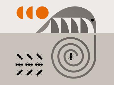 Anteater illu nature symbol icon mammal sun illustration bugs spiral anteater ants