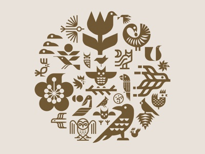 Circle of Birds hummingbird eagle cardinal pelican chicken owl crow birds modern bird mark illustration nature symbol icon logo