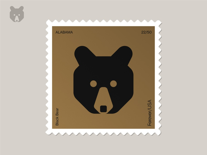 Alabama Stamp 2020 philately stamp postage stamp postage animal bear face bear black bear nature symbol icon logo