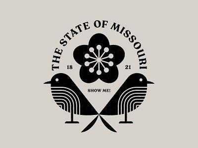 Missouri badge icon logo typography bird illustration nature illustrator bird illustration white hawthorn blossom blossom flower bluebirds birds missouri