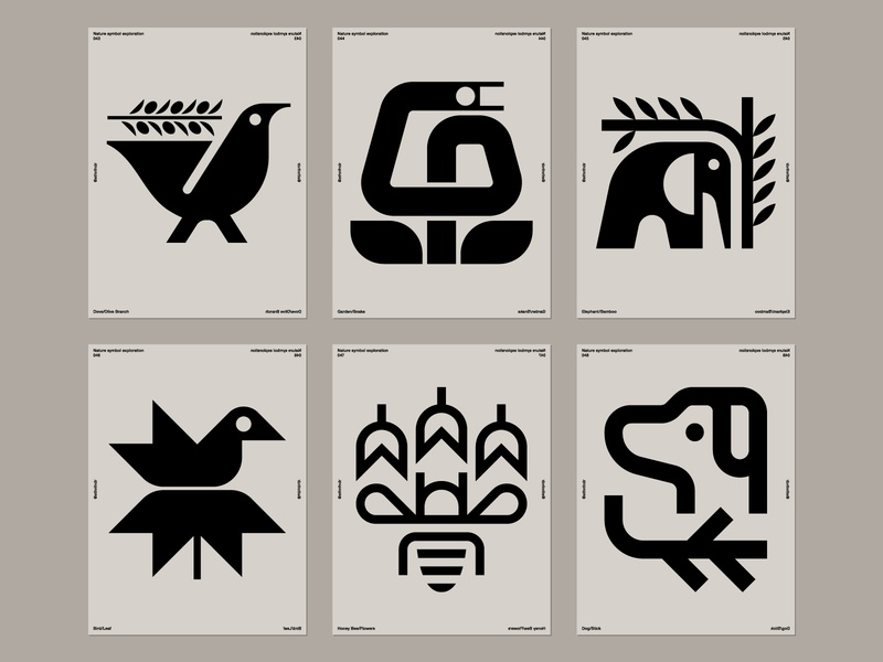 Nature symbol exploration compiled 43-48 icon logo stick puppy dog nectar pollen honey bee bird leaves bamboo branches elephant garden snake olives olive branch dove
