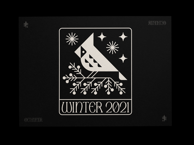 Winter_Postcard_2021 illustration nature symbol icon logo medieval card kraft postcard winter 2021 bird cardinal