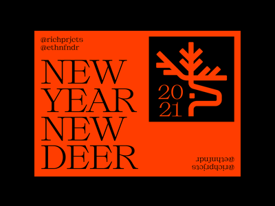 NEW YEAR NEW DEER illustration symbol icon logo iconography nature collab a4 poster layout deer illustration antlers deer