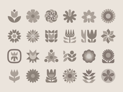 Flower set modern illustration nature flower logo flower symbol symbol flower icon icons iconography garden botanical flowers