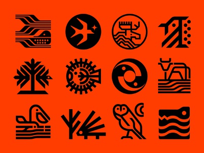 Nature Symbol Exploration 58-69 seaweed farm field waves moon alligator owl porcupine dolphin pelican cattle cow yinyang pufferfish tree bird bluejay moose swallow