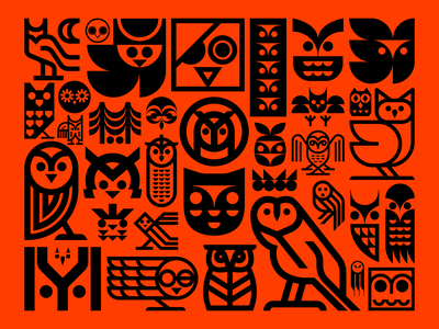Owl Motif bird nature icon mystic feather symbol logo icons birds hoot owl