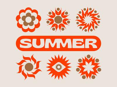 SUMMER symbol nature symbols garden flowers flower trippy 70s retro typography type season fire flames rays sol sun summer