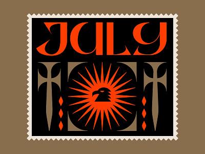 JULY nature symbol illustration icon custom type typography stamp postage stamp postage folklore fantasy medieval swords sword bird eagle sun summer heat july