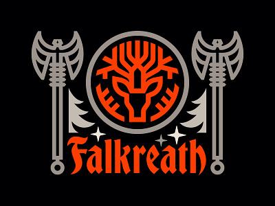 Skyrim_Falkreath medallion seal stag deer nature stars illustration blackletter axe heraldry coat of arms crest medieval gaming bethesda elder scrolls skyrim black forest forest falkreath
