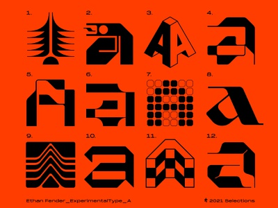 Experimental type: A set collection grid typography type icon geometric logotype logo a letter a lettering modernist modernism experimental design experimental type