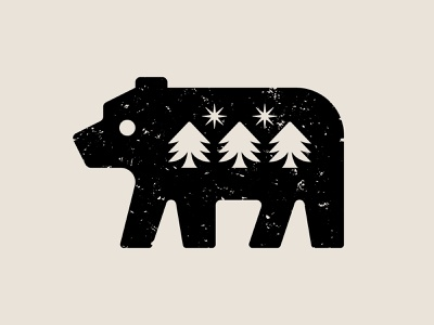 Grizzly pine tree trees north star star illustration symbol nature icon logo bear grizzly bear grizzly