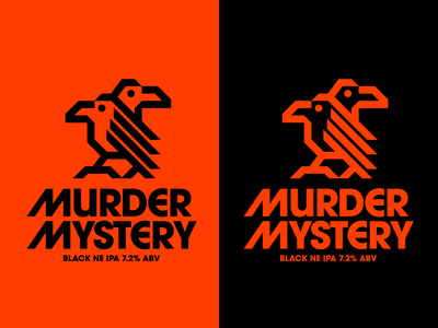 Murder Mystery (Beer label concept) hops murder mystery corvus raven black bird nature icons symbol beer label ipa ne ipa black ne ipa beer birds crows murder of crows crow