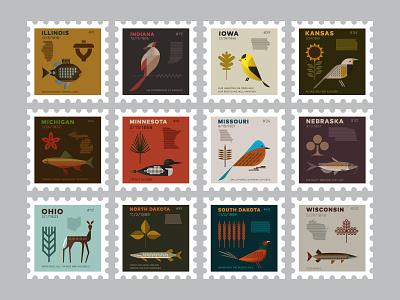 Midwest stamps wisconsin south dakota north dakota ohio nebraska missouri minnesota michigan kansas iowa indiana illinois