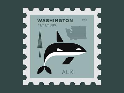 Washington Stamp stamp illustration pnw hemlocks sea seaworld killer whale orca whale whale washington